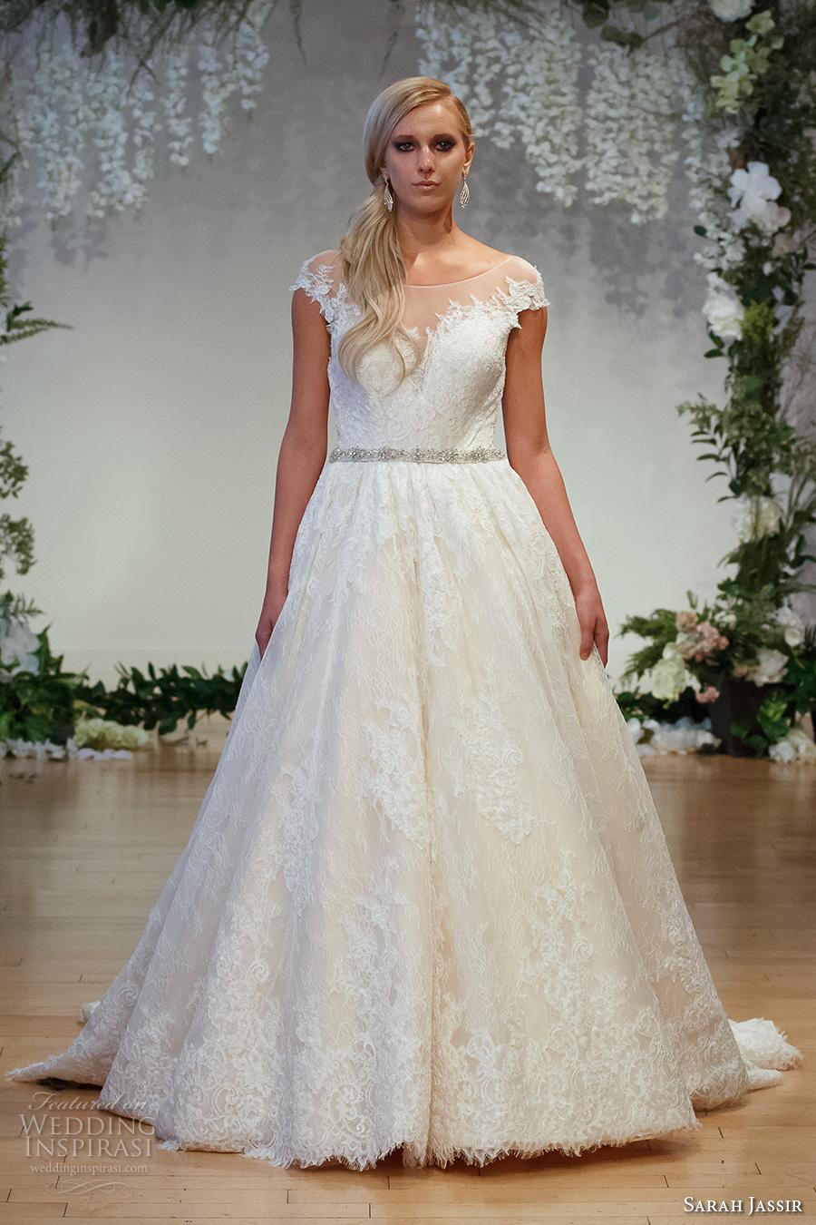 sarah jassir 2017 bridal cap sleeves illusion bateau neck deep sweetheart neck full embellishment romantic classic a  line wedding dress v back sweep train (6) mv