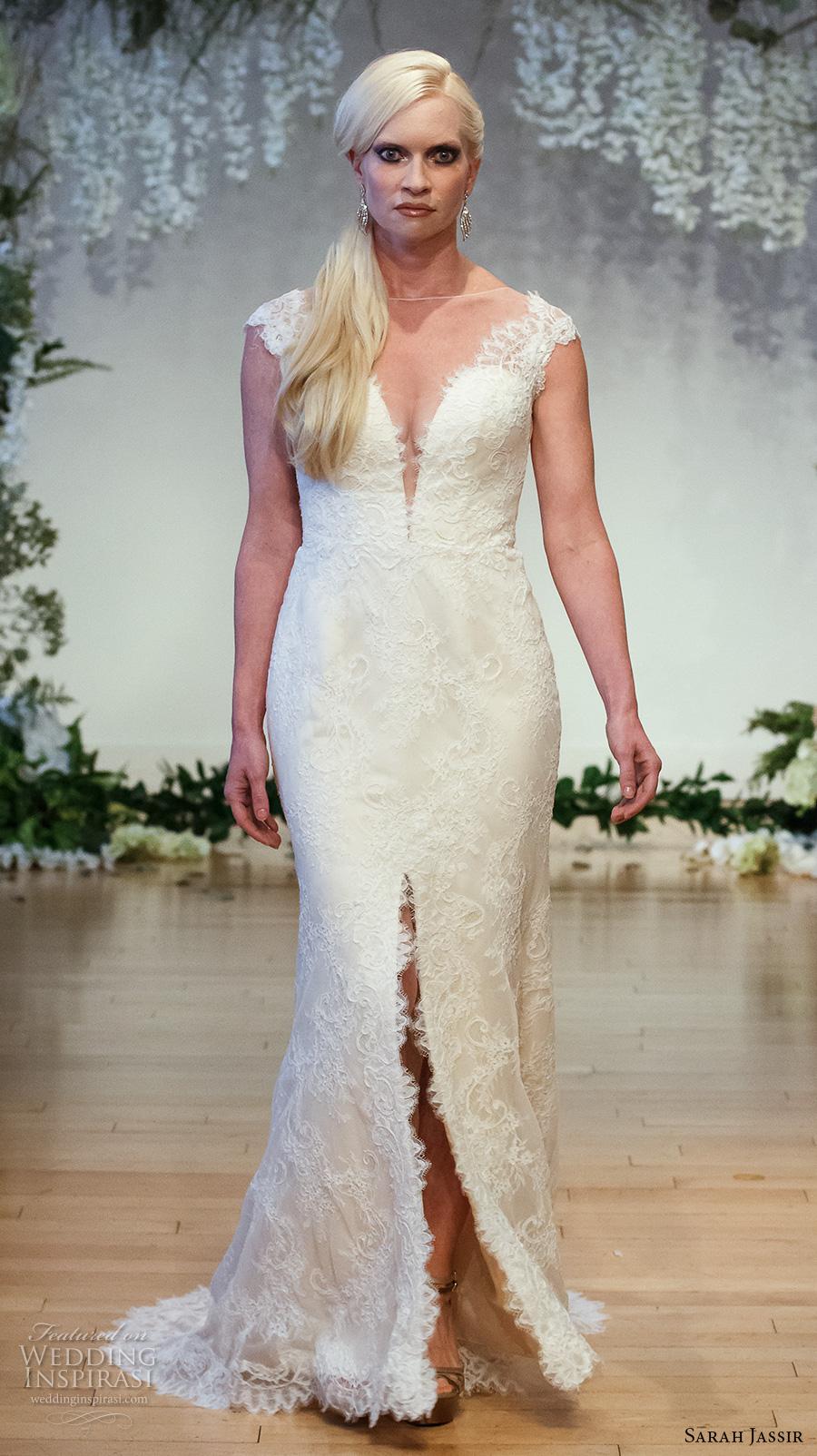 sarah jassir 2017 bridal cap sleeves illusion boat deep plunging v neck elegant sexy sheath wedding dress middle slit sheer back sweep train (4) mv