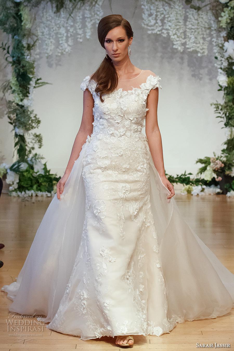 sarah jassir 2017 bridal cpa sleeves sheer boat neck scoop neckline heavily embellished bodice classic elegant trumpet wedding dress a  line overskirt sheer low back chapel train (8) mv