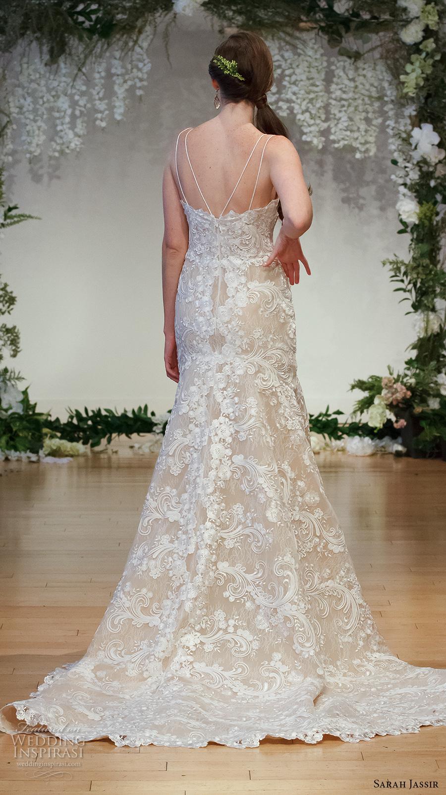 sarah jassir 2017 bridal double spagetti strap straight across neck full embellishment elegant trumpet wedding dress chapel train (12) bv