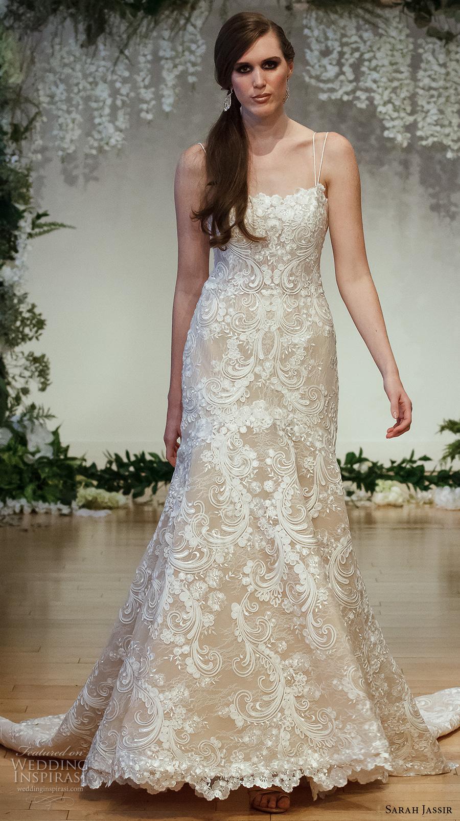 sarah jassir 2017 bridal double spagetti strap straight across neck full embellishment elegant trumpet wedding dress chapel train (12) mv