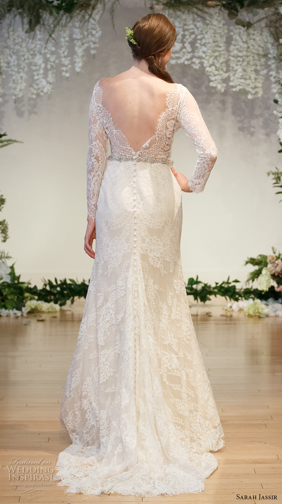 sarah jassir 2017 bridal long sleeves lace v neck deep sweetheart neckline full embellishment elegant sheath wedding dress low v back sweep train (2) bv