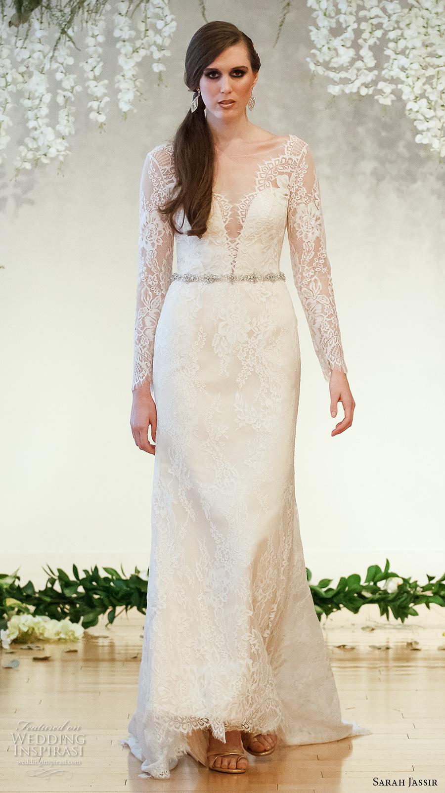 sarah jassir 2017 bridal long sleeves lace v neck deep sweetheart neckline full embellishment elegant sheath wedding dress low v back sweep train (2) mv