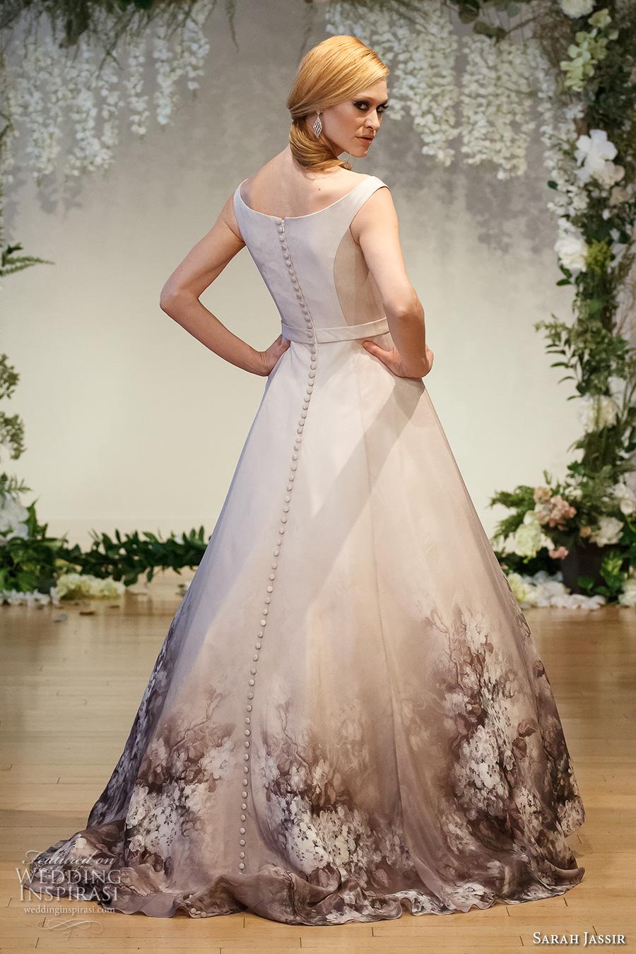 sarah jassir 2017 bridal off the shoulder boat neckline unembellished bodice romantic beige color a  line wedding dress sweep train (1) bv