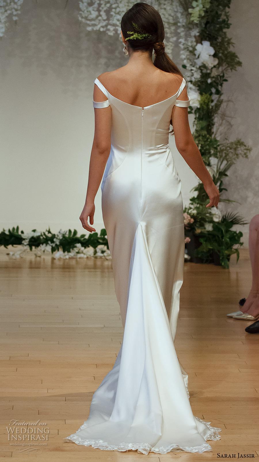 sarah jassir 2017 bridal off the shoulder scoop neck simple clean satin elegant sheath wedding dress sweep train (13) bv