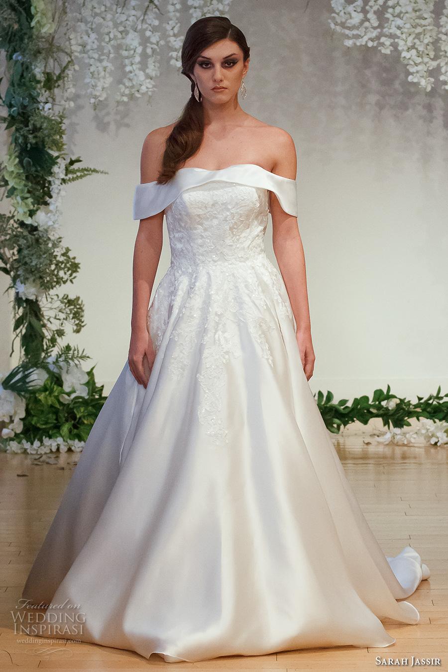 sarah jassir 2017 bridal off the shoulder straight across neckline heavily embellished bodice princess a  line wedding dress chapel train (9) mv