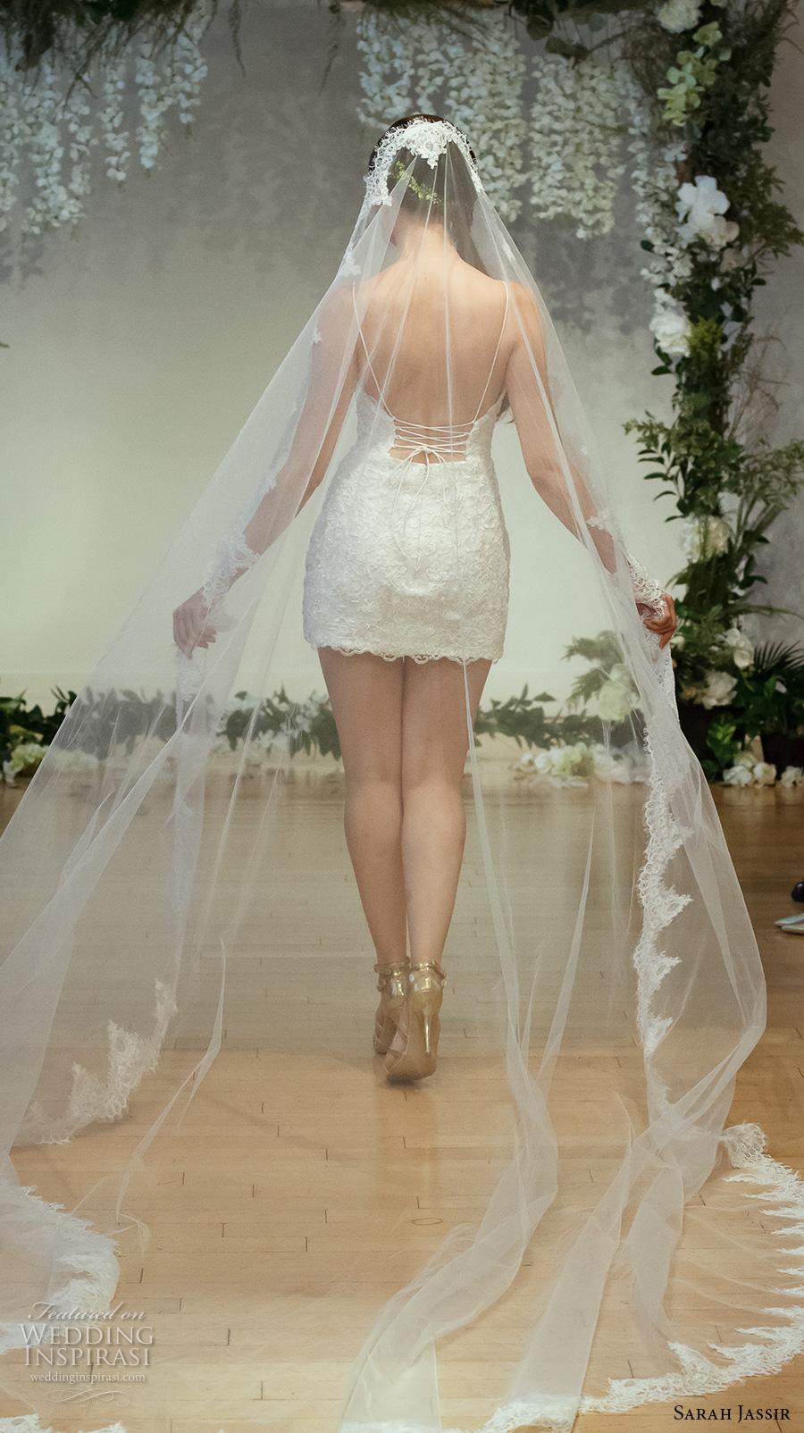 sarah jassir 2017 bridal spagetti strap sweetheart neckline full embellishment sexy romantic mini skirt short wedding dress low back (5) bv