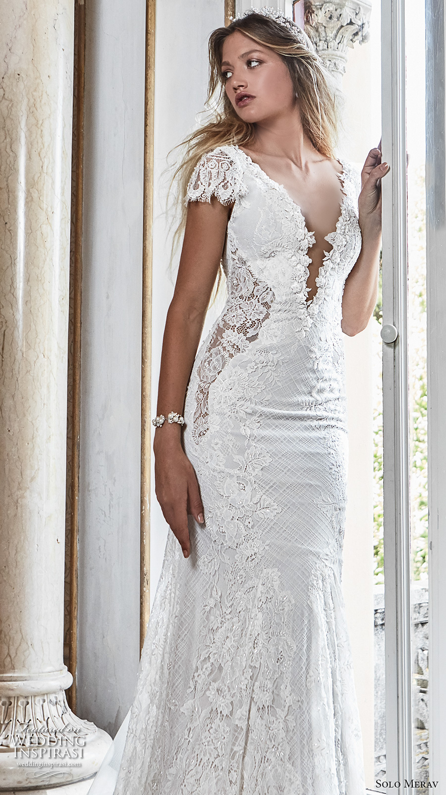 solo merav 2017 bridal cap sleeves deep plunging v neck full embellishment elegant romantic trumpet wedding dress low back chapel train (lizet) zv