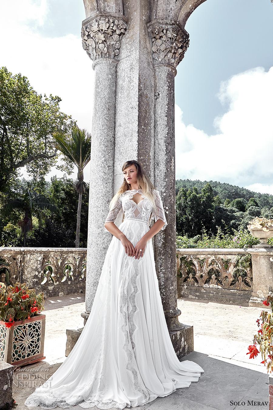 solo merav 2017 bridal half sleeves jacket spagetti strap sweetheart neckline heavily embellished bodice romantic a  line wedding dress low back chapel train (emma) mv