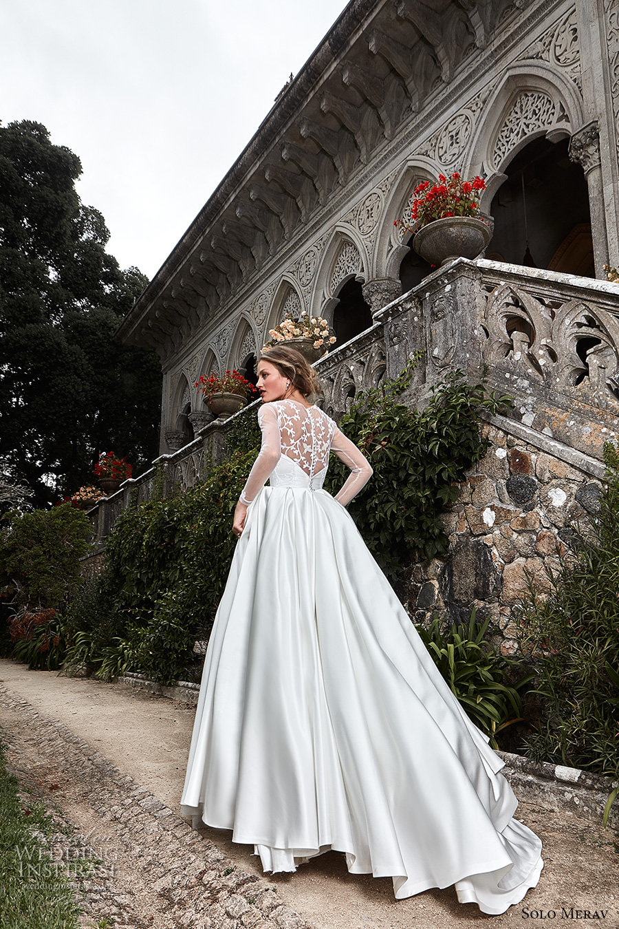 solo merav 2017 bridal long sleeves illusion jewel sweetheart neckline heavily embellished bodice satin skirt princess ball gown a  line wedding dress illusion back chapel train (camila) bv