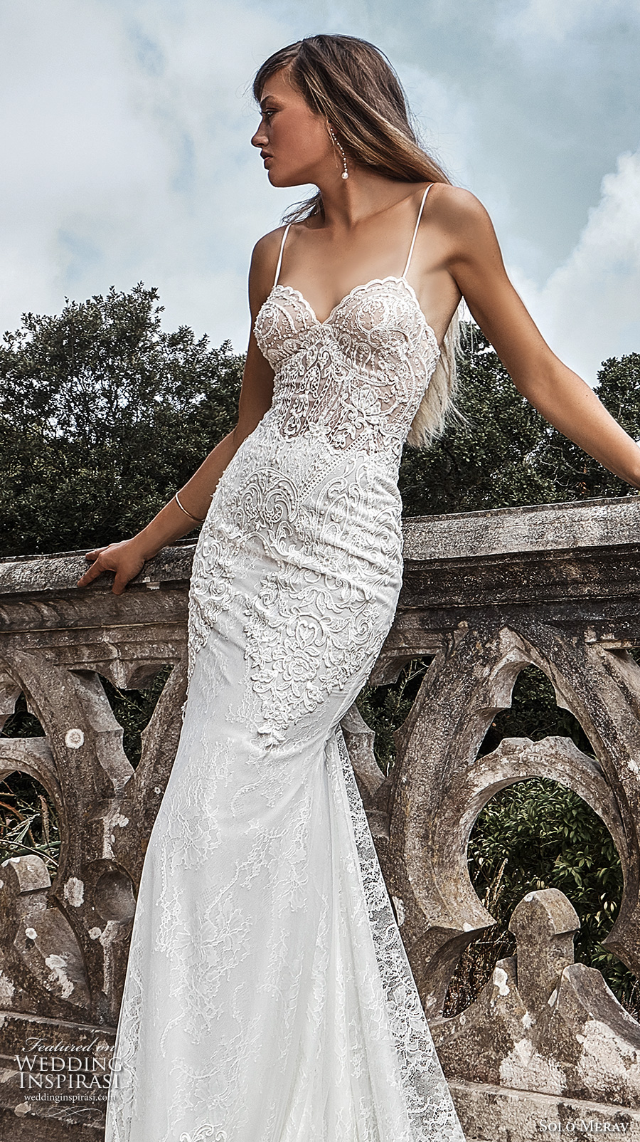 solo merav 2017 bridal spagetti strap sweetheart neckline heavily embellished bodice elegant sexy sheath trumpet wedding dress sweep train (paula) zv
