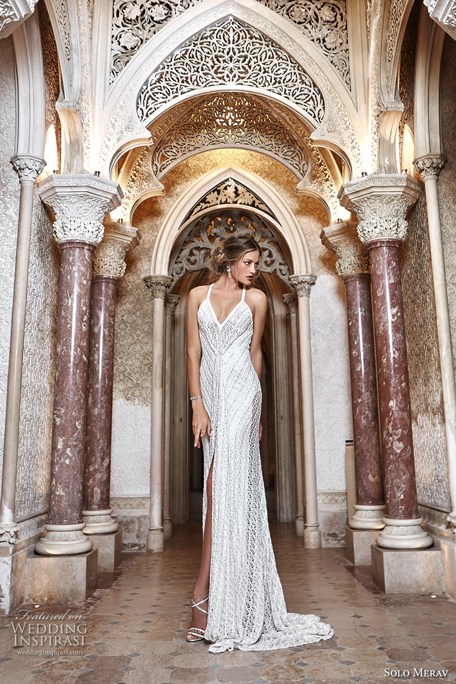 solo merav 2017 bridal thin strap spagetti strap full embellishment elegant split skirt sheath wedding dress strap back sweep train (khaleesii) mv