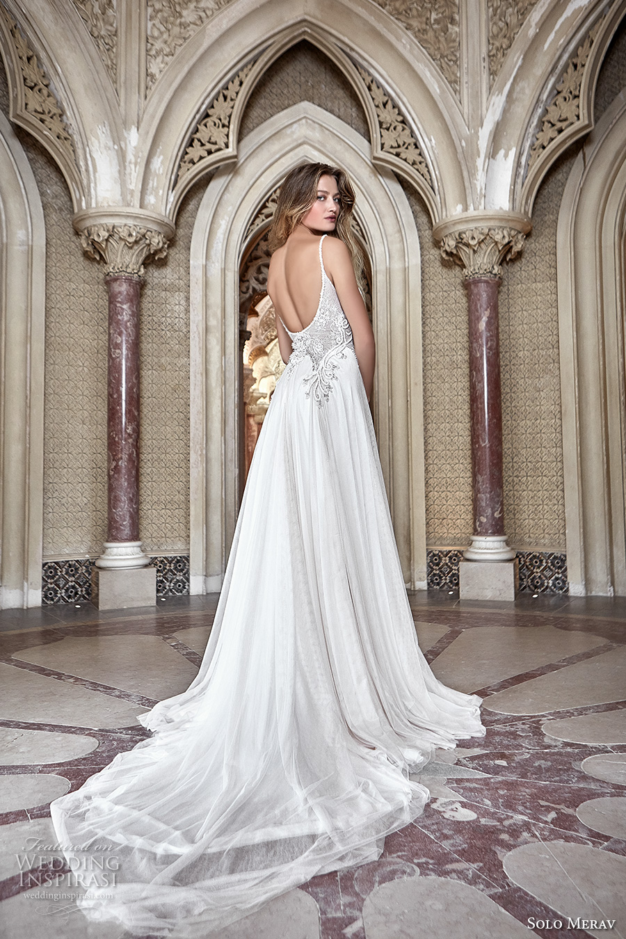 solo merav 2017 bridal thin strap sweetheart neckline heavily embellished bodice side slit split a  line wedding dress low back chapel train (sintra) bv