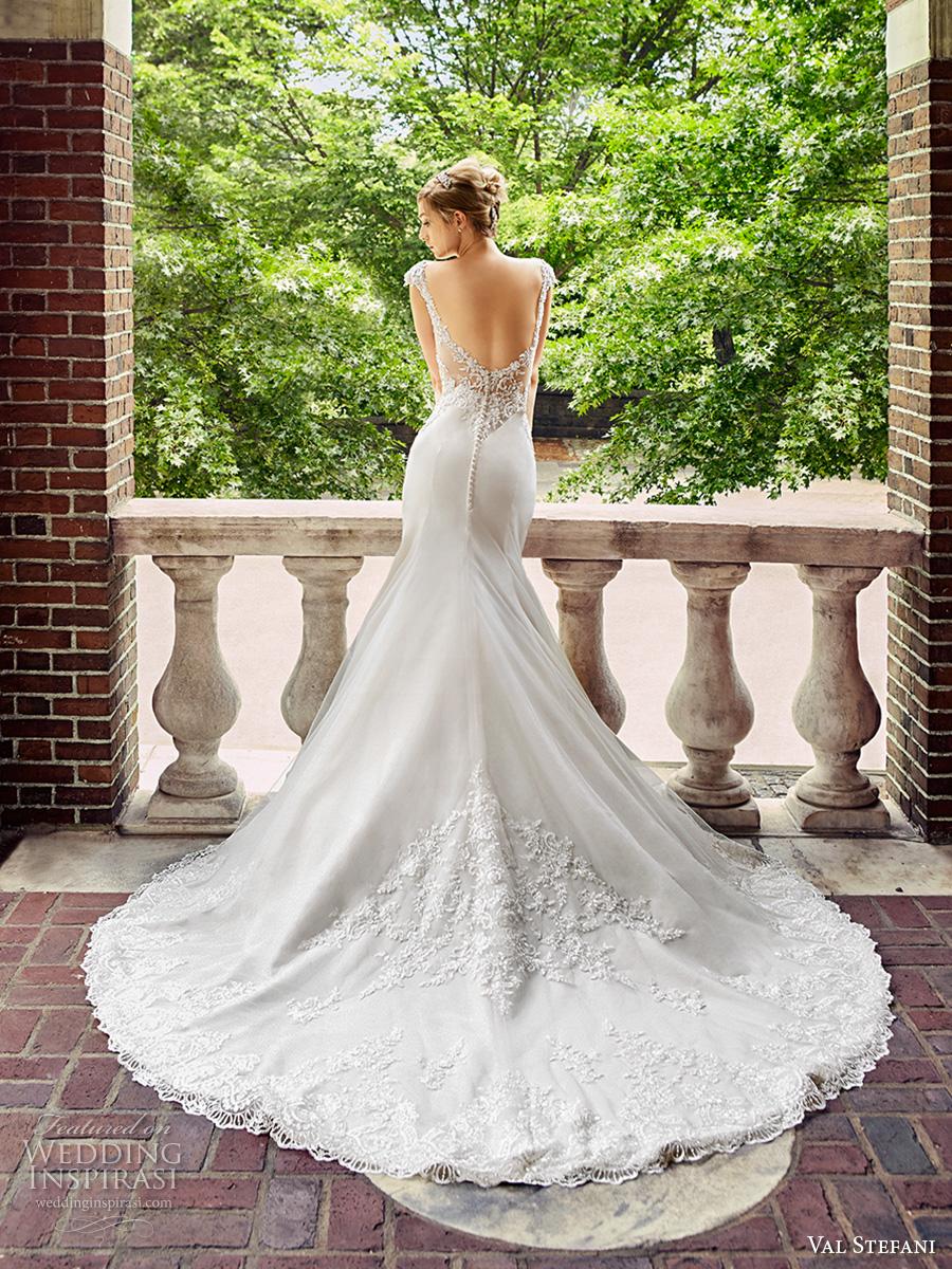 val stefani spring 2017 bridal cap sleeves v neck heavily embellished bodice elegant fit and flare wedding dress low back chapel train (d8123) bv