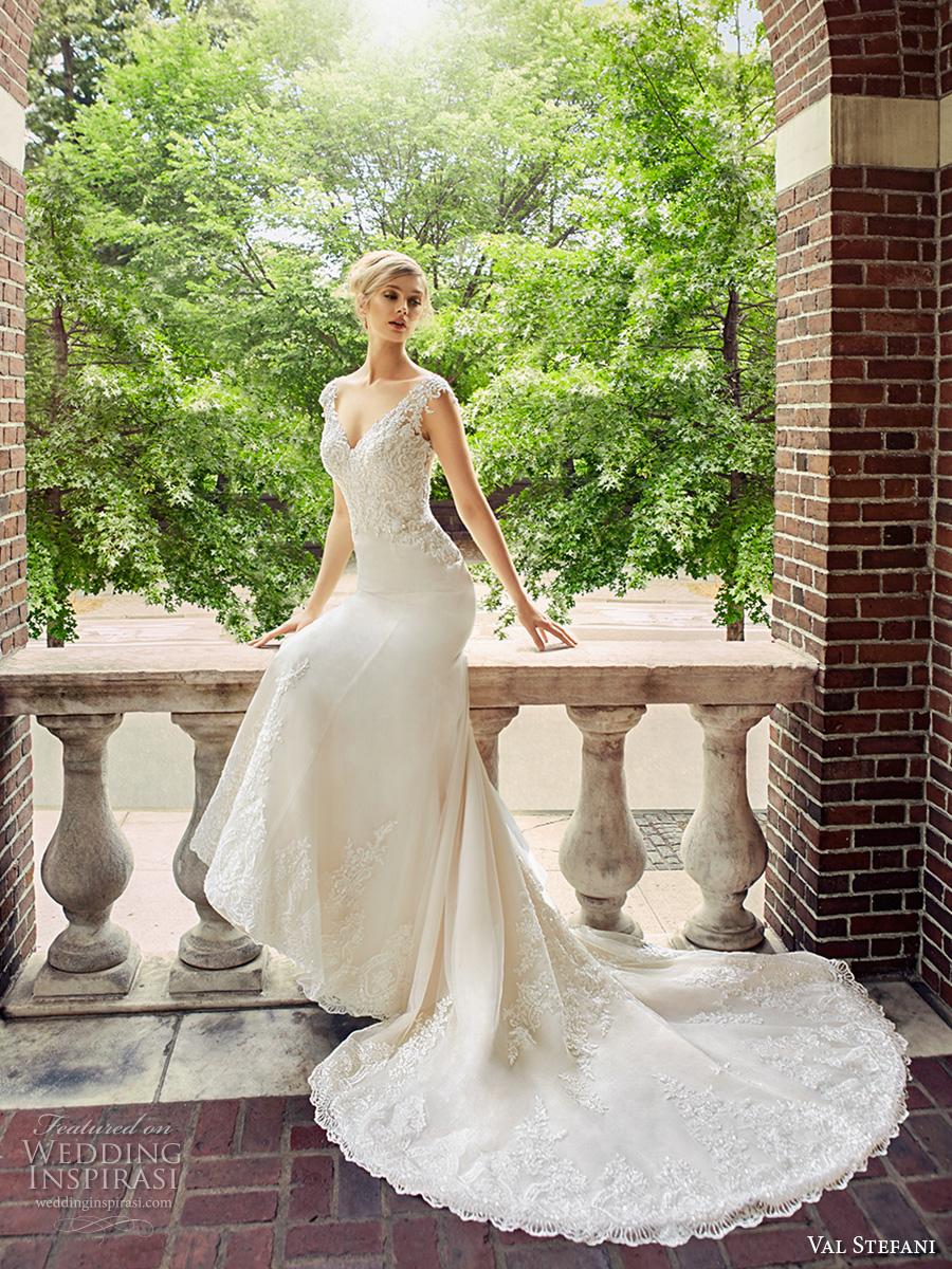 val stefani spring 2017 bridal cap sleeves v neck heavily embellished bodice elegant fit and flare wedding dress low back chapel train (d8123) mv