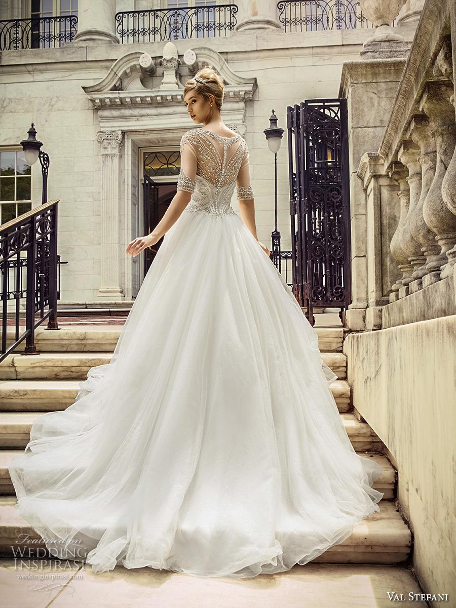 Val Stefani Spring 2017 Bridal Half Sleeves Illusion Bateau Sweetheart Neckline Heavily Embellished Bodice Princess