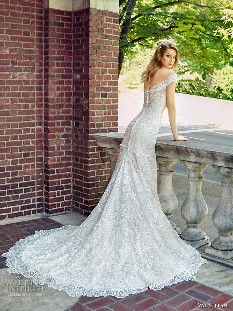 val stefani spring 2017 bridal off the shoulder sweetheart neckline full embellishment elegant trumpet wedding dress chapel train (d8121) bv