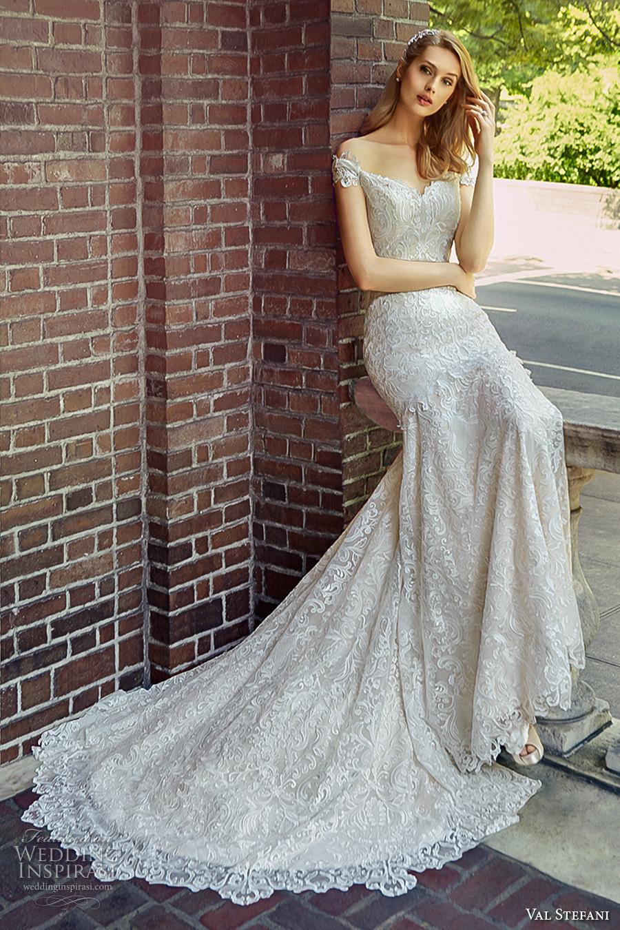 val stefani spring 2017 bridal off the shoulder sweetheart neckline full embellishment elegant trumpet wedding dress chapel train (d8121) mv