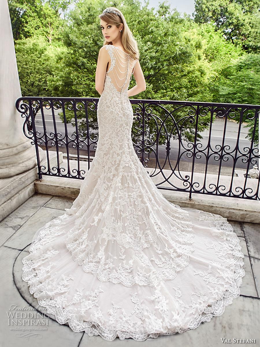 val stefani spring 2017 bridal spagetti strap sweetheart neckline full embellishment elegant fit and flare wedding dress low back chapel train (d8124) bv