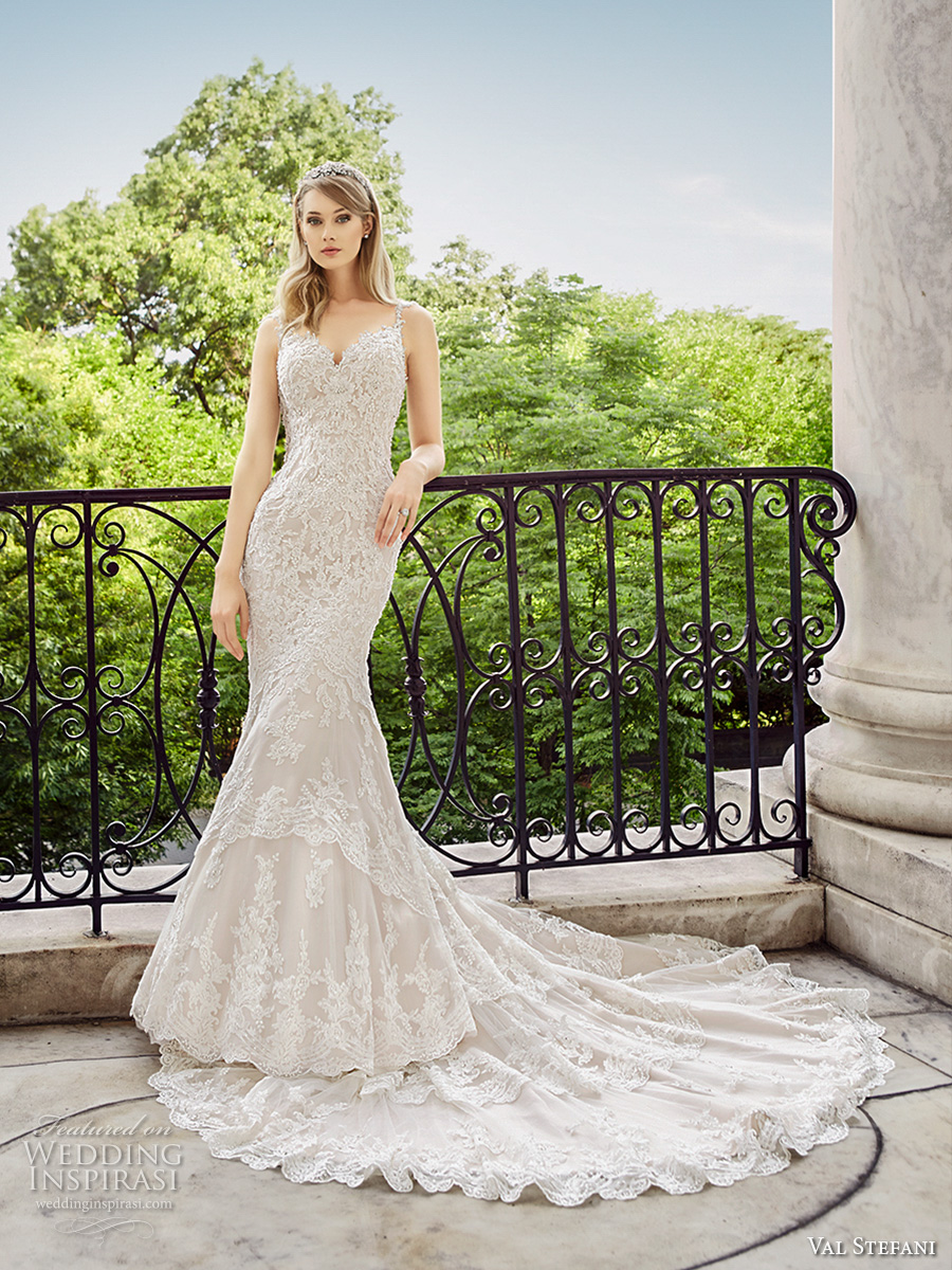 val stefani spring 2017 bridal spagetti strap sweetheart neckline full embellishment elegant fit and flare wedding dress low back chapel train (d8124) mv