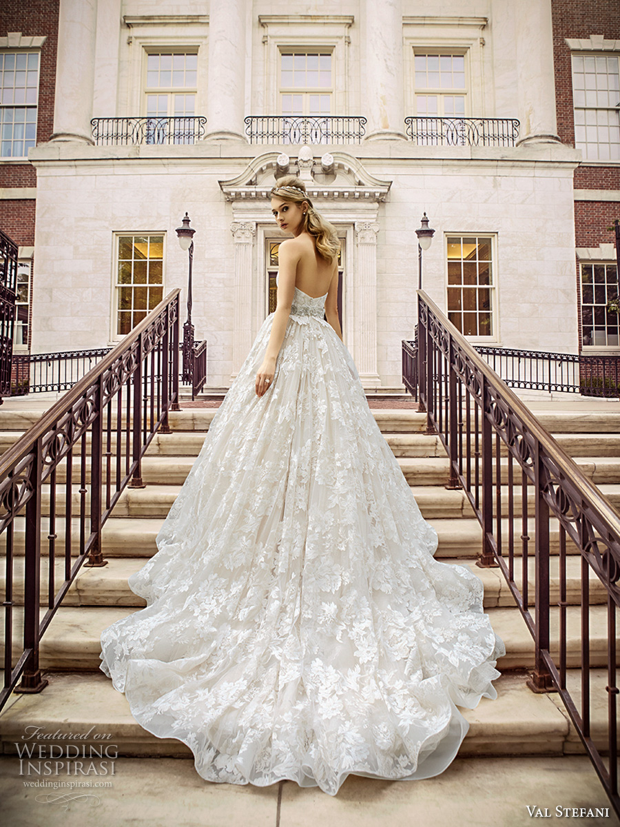 val stefani spring 2017 bridal strapless sweetheart neckline full embellishment beautiful romantic princess a  line wedding dress royal train (d8125) bv