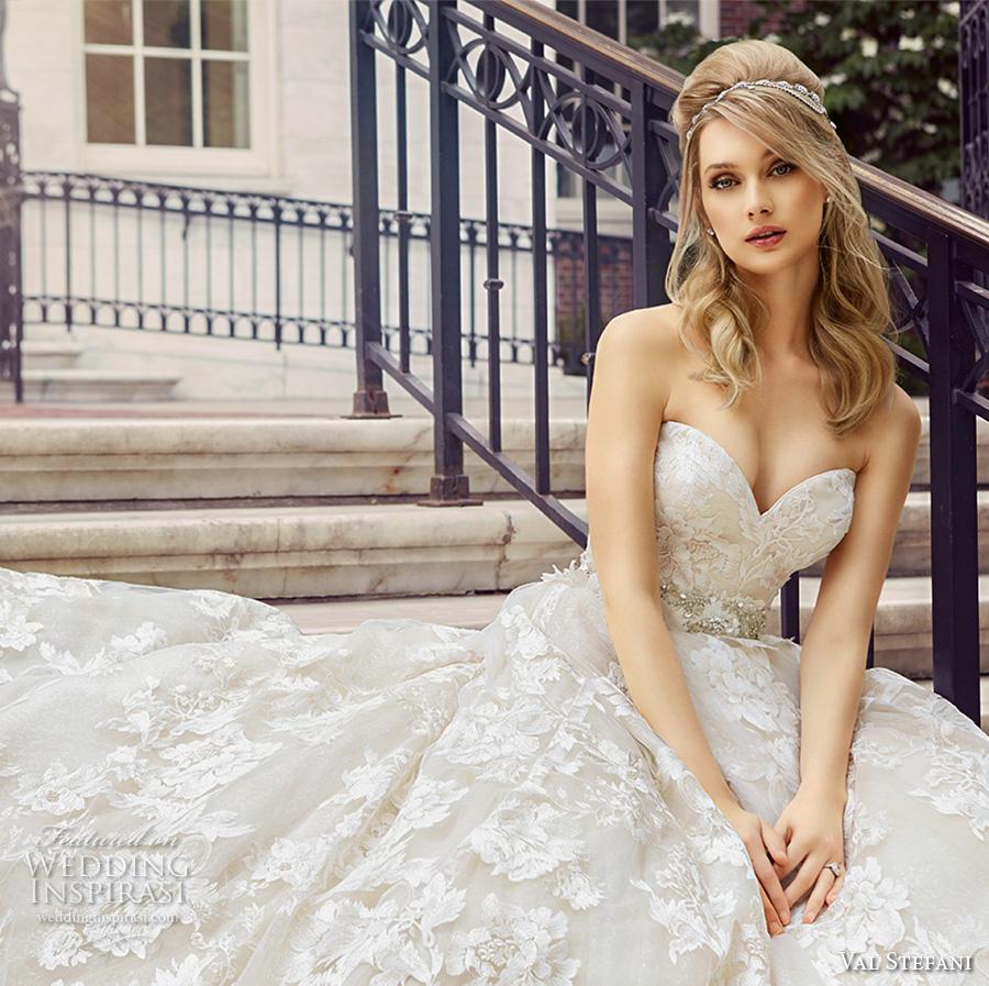 val stefani spring 2017 bridal strapless sweetheart neckline full embellishment beautiful romantic princess a  line wedding dress royal train (d8125) zv