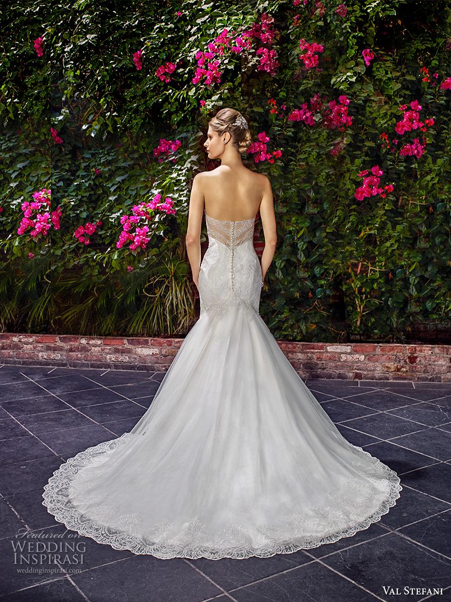 val stefani spring 2017 bridal strapless sweetheart neckline full embellishment elegant romantic fit and flare wedding dress illusion back chapel train (d8127) bv