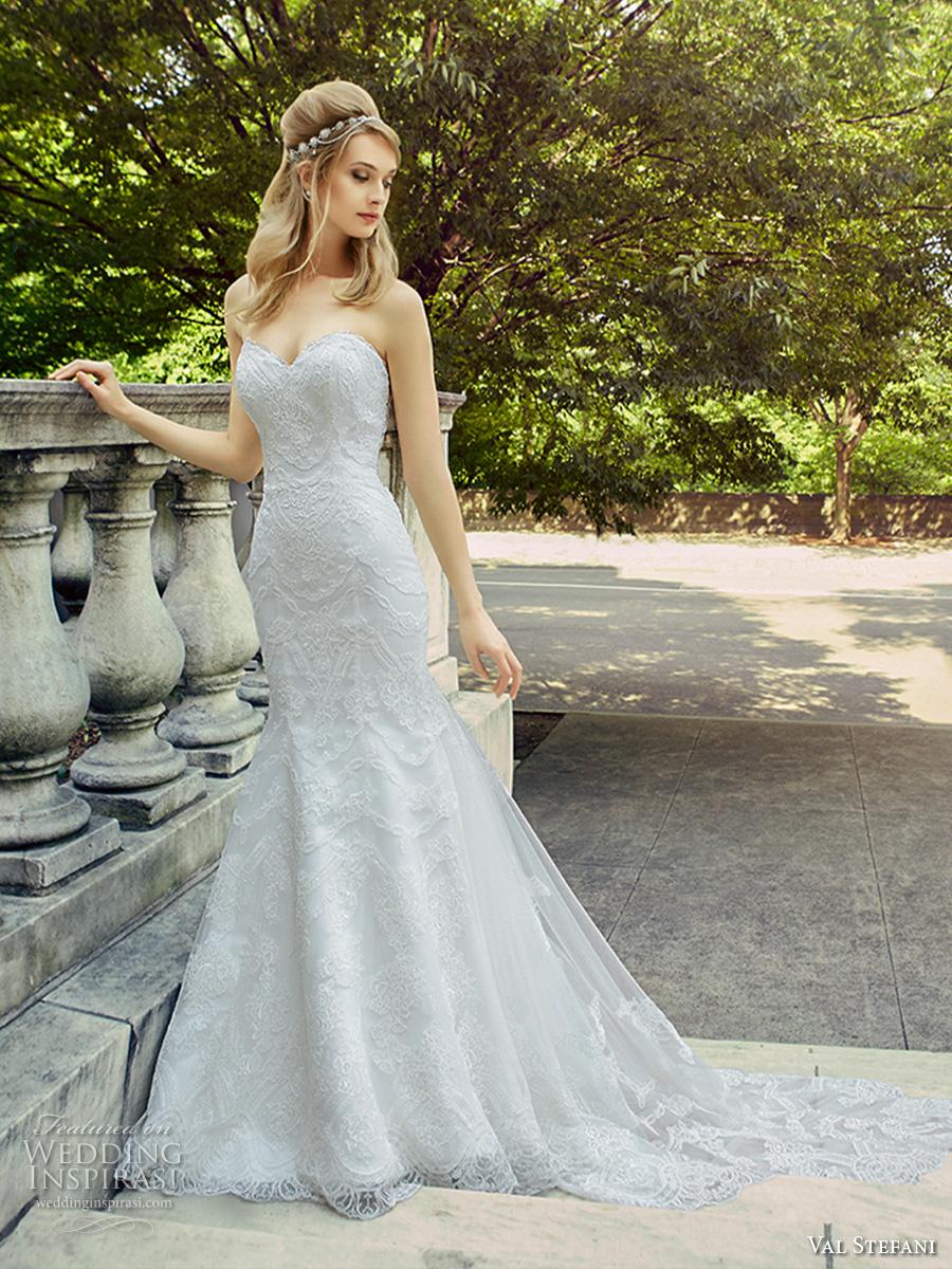 val stefani spring 2017 bridal strapless sweetheart neckline full embellishment elegant romantic fit and flare wedding dress illusion back chapel train (d8127) mv