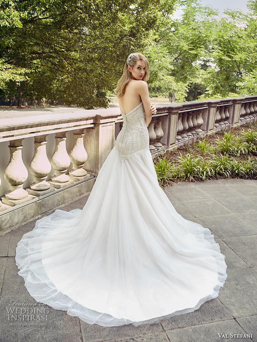 val stefani spring 2017 bridal strapless sweetheart neckline heavily embellished bodice drop waist a  line wedding dress chapel train (d8126) bv