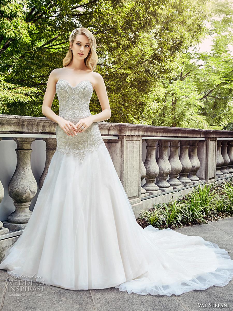 val stefani spring 2017 bridal strapless sweetheart neckline heavily embellished bodice drop waist a  line wedding dress chapel train (d8126) mv