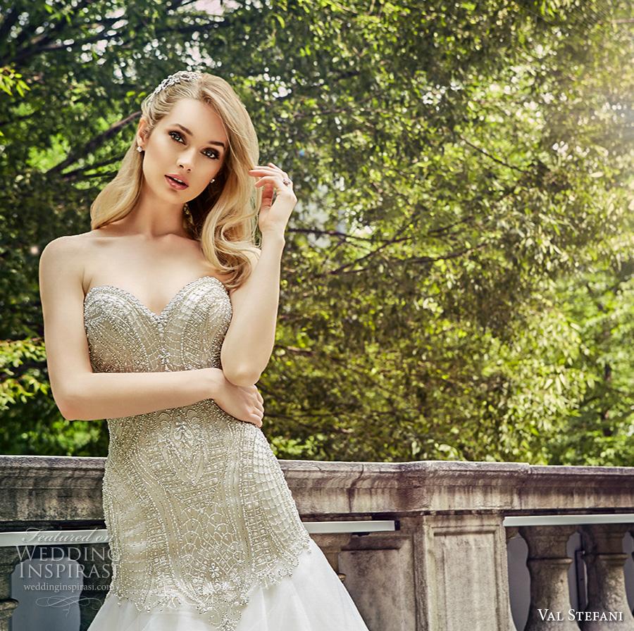 val stefani spring 2017 bridal strapless sweetheart neckline heavily embellished bodice drop waist a  line wedding dress chapel train (d8126) zv