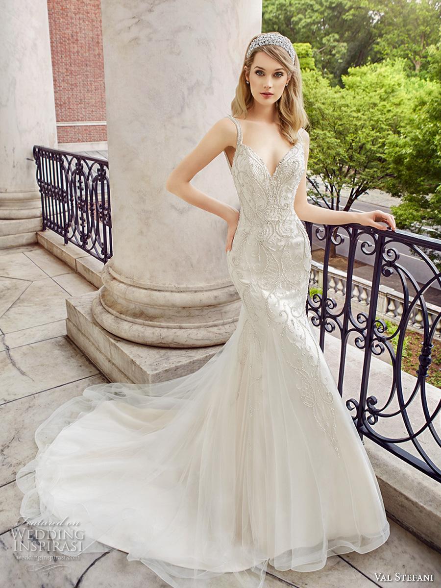 val stefani spring 2017 bridal thin strap v neck heavily embellished bodice low back elegant fit and flare wedding dress low back chapel train (d8122) mv