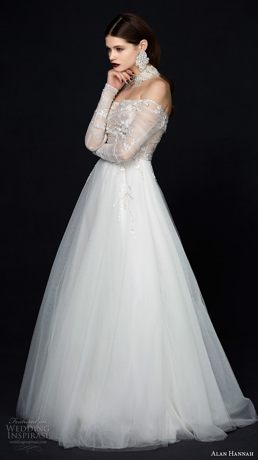alan hannah 2017 bridal long sleeves off the shoulder straight across neckline heavily embellished bodice romantic sexy a  line wedding dress sweep train (liberty) mv