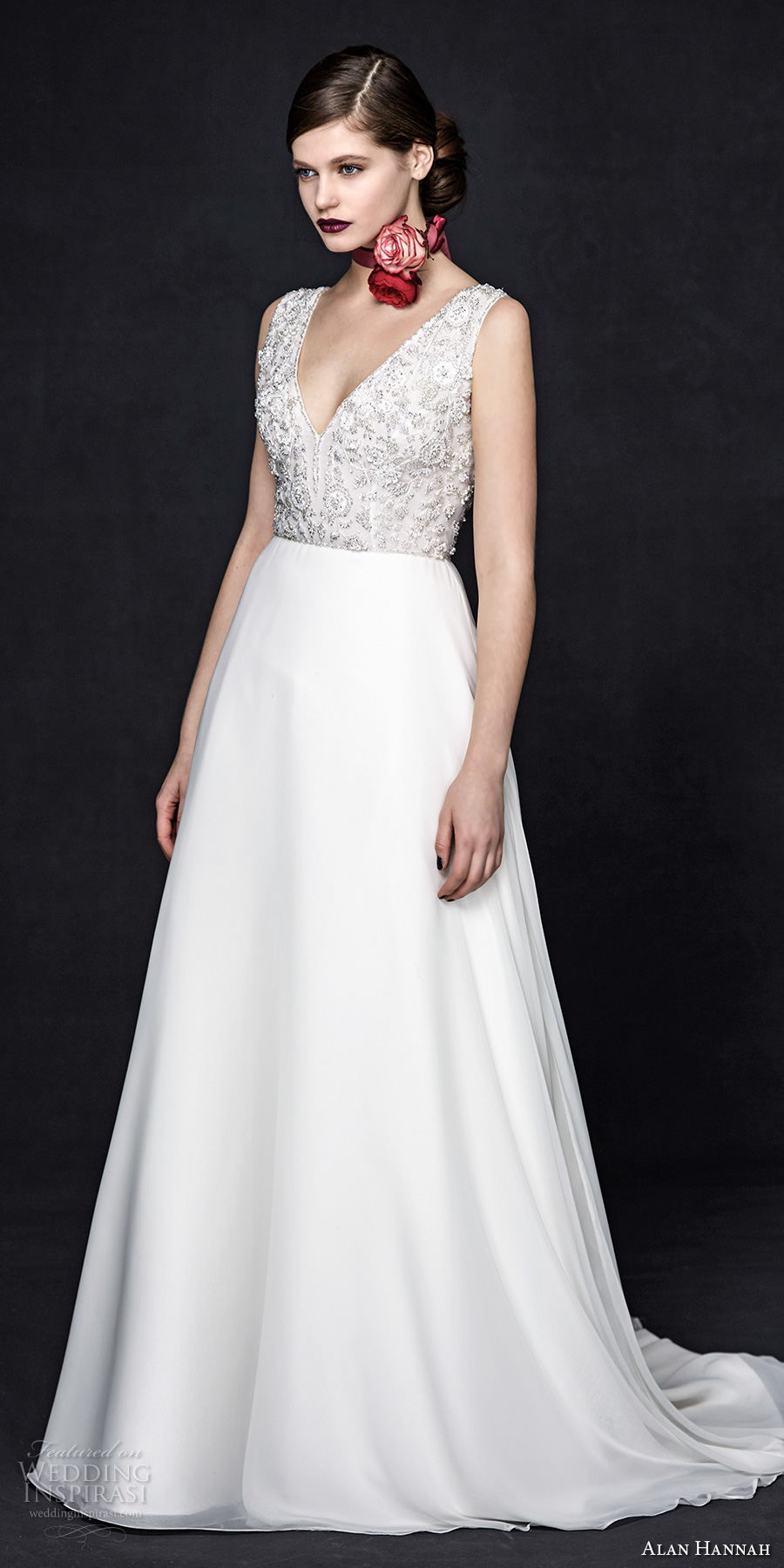 alan hannah 2017 bridal sleeveless thick strap v neck heavily embellished bodice romantic glamorous a  line wedding dress sweep train (cornelia) mv