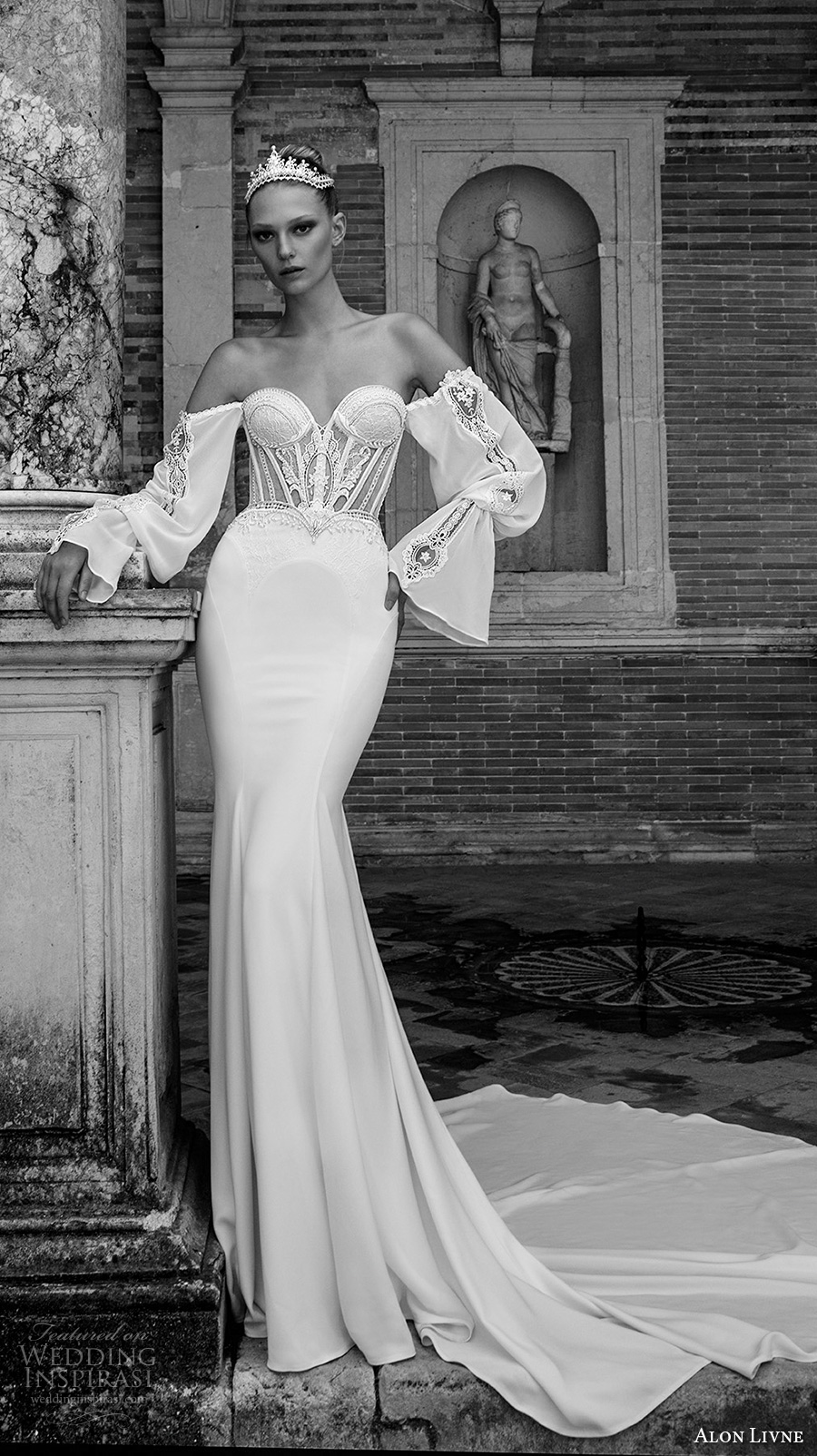 alon livne 2017 bridal long bell sleeves strapless sweetheart neckline bustier heavily embroidered bodice sexy fit and flare sheath wedding dress chapel train (margot) mv