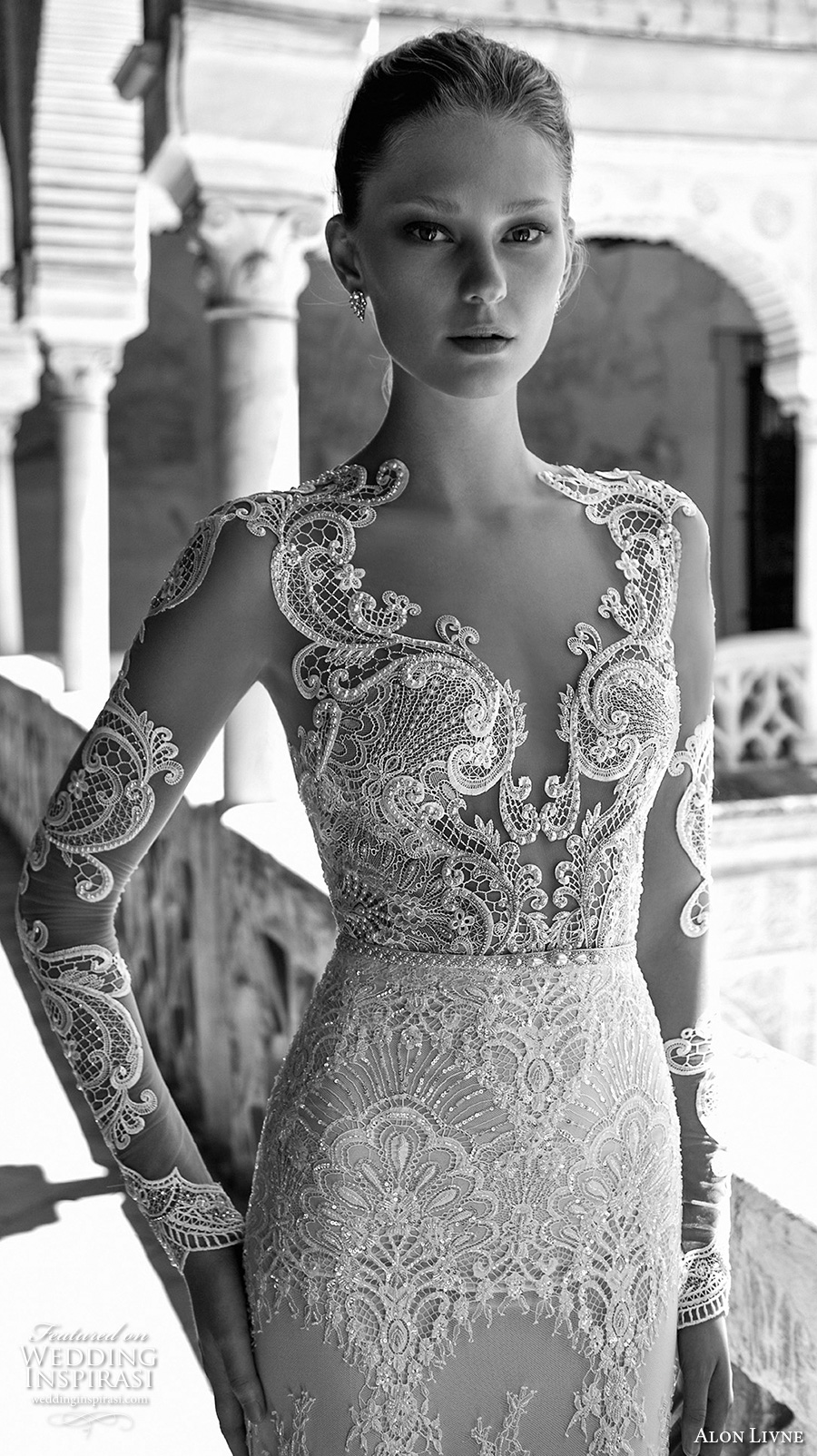 alon livne 2017 bridal long sleeves plunging sweetheart neckline full embroidered elegant glamorous sheath wedding dress keyhole back sweep train (caroline) zv