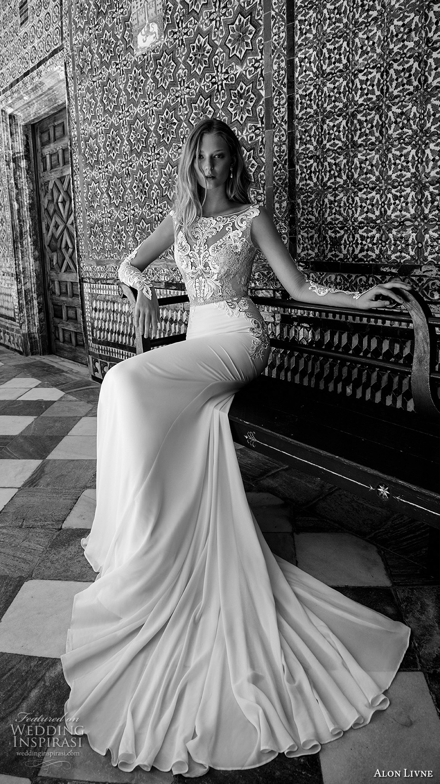 alon livne 2017 bridal sleeveless bateau neckline heavily embellished bodice elegant glamorous fit and flare sheath wedding dress low back chapel train (blair) mv