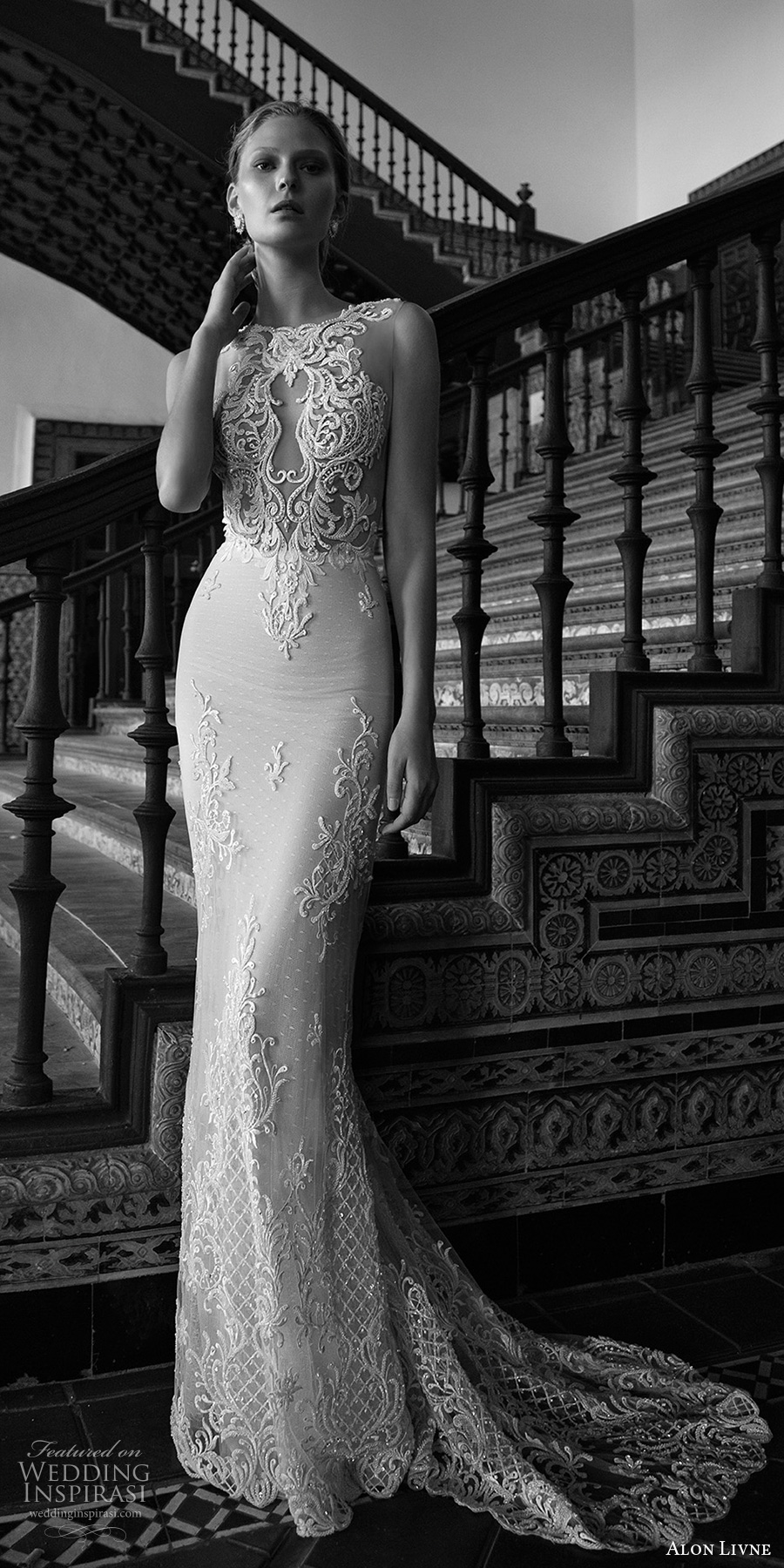 alon livne 2017 bridal sleeveless jewel neckline keyhole heavily embellished bodice elegant sexy sheath wedding dress low back chapel train (alexis) mv