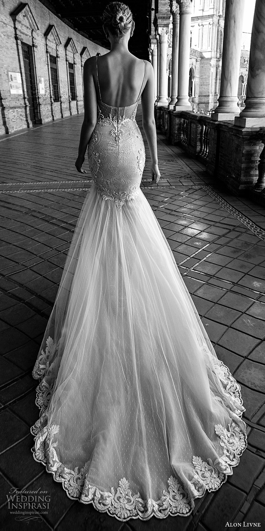 alon livne 2017 bridal sleeveless spagetti strap sweetheart neck heavily embroidered mermaid wedding dress chapel train (gisele) bv