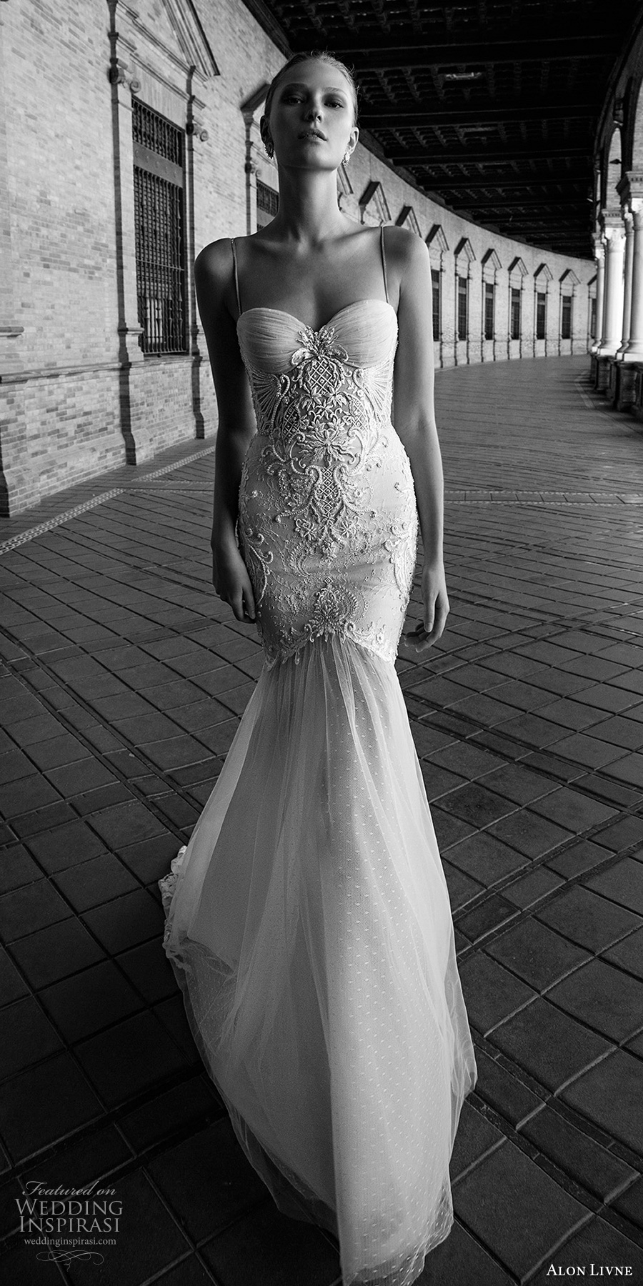 alon livne 2017 bridal sleeveless spagetti strap sweetheart neck heavily embroidered mermaid wedding dress chapel train (gisele) mv