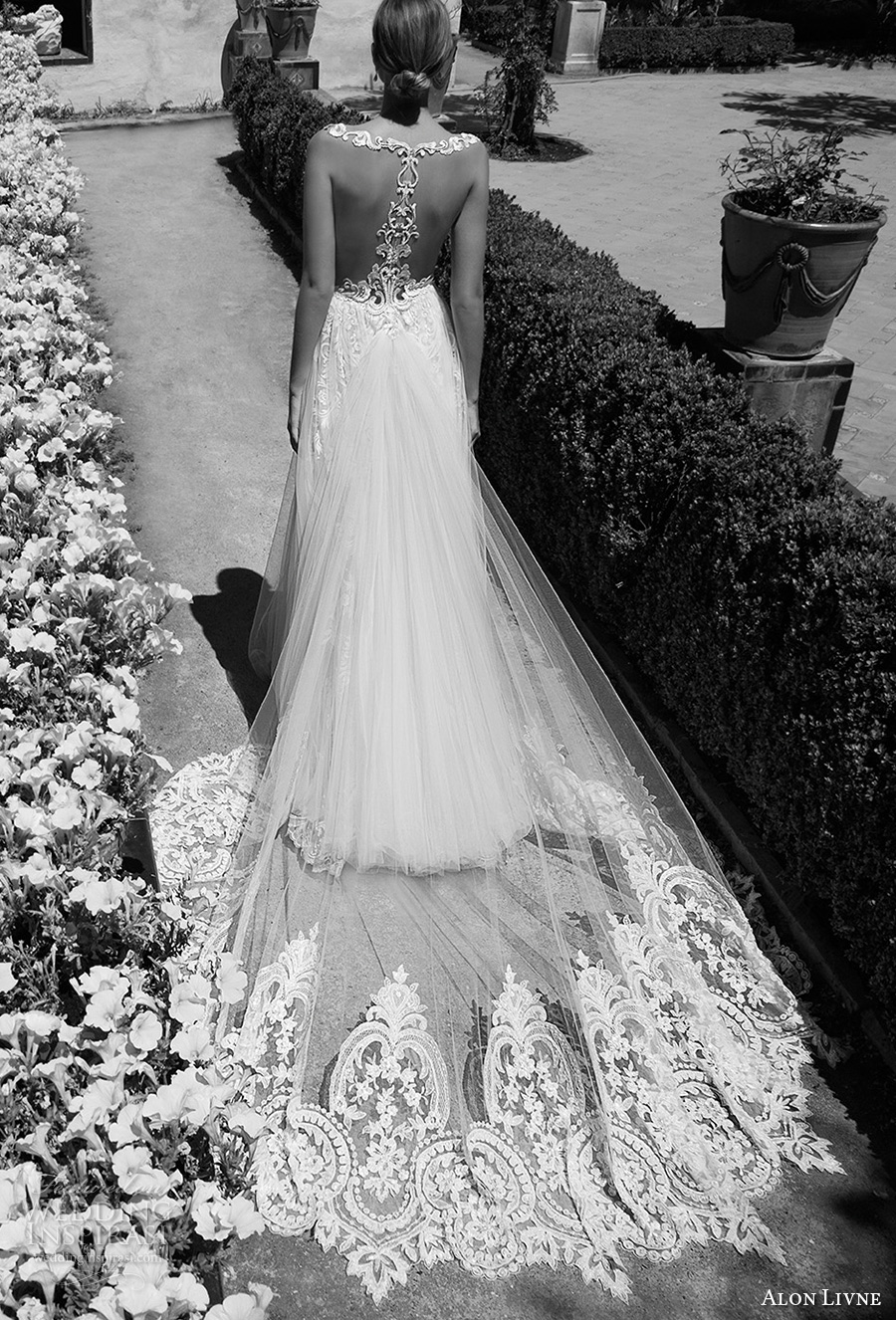 alon livne 2017 bridal sleeveless v neck heavily embroidered bodice tulle skirt romantic flowy modified a  line wedding dress rasor back royal train (christine) bv