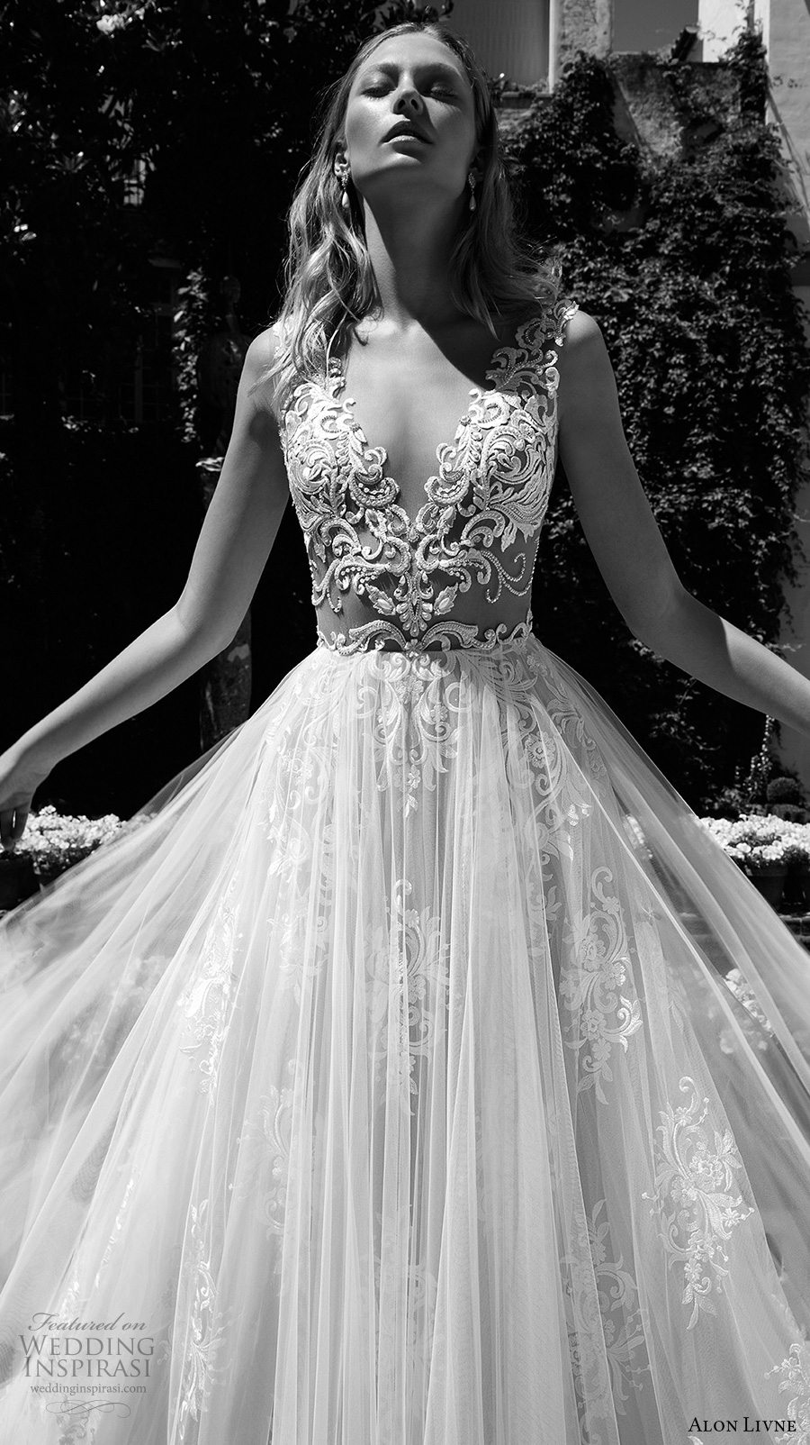 alon livne 2017 bridal sleeveless v neck heavily embroidered bodice tulle skirt romantic flowy modified a  line wedding dress rasor back royal train (christine) zv