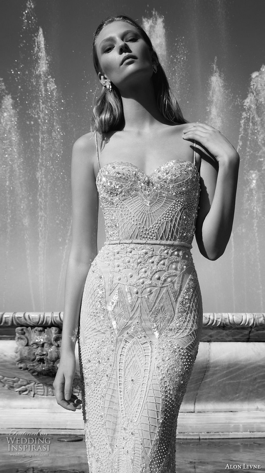 alon livne 2017 bridal spagetti strap sweetheart neckline busiter full embellishment elegant sexy sheath wedding dress chapel train (alexandra) zv