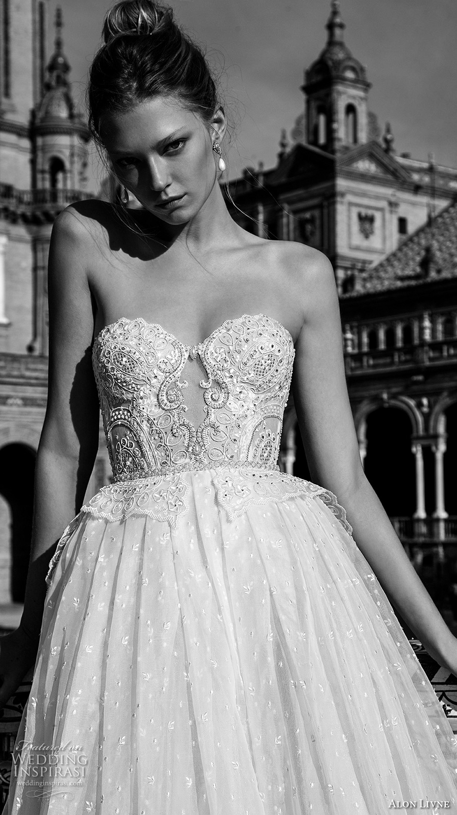 alon livne 2017 bridal strapless sweetheart necklin bustier heavily embellished bodice princess ball gown wedding dress royal train (anastasia) zv
