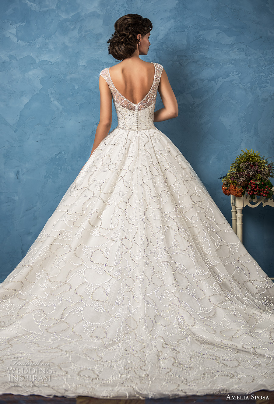 amelia sposa 2017 bridal cap sleeves illusion bateau neckline full embellishment beaded romantic a  line wedding dress with pockets chapel train (vanessa) bv