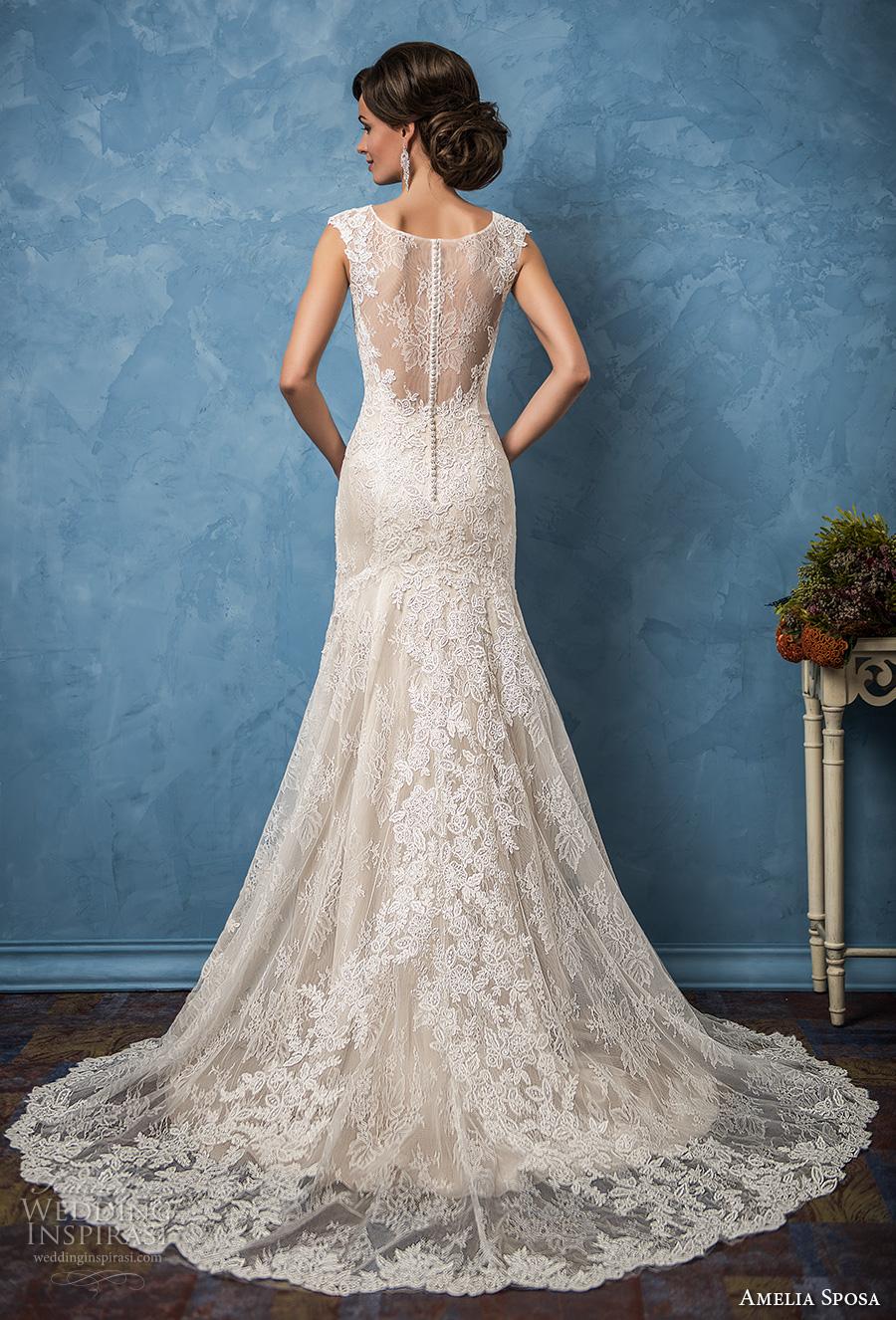 amelia sposa 2017 bridal cap sleeves scoop neckline full embellishment elegant trumpet mermaid wedding dress illusion back chapel train (adriana) bv