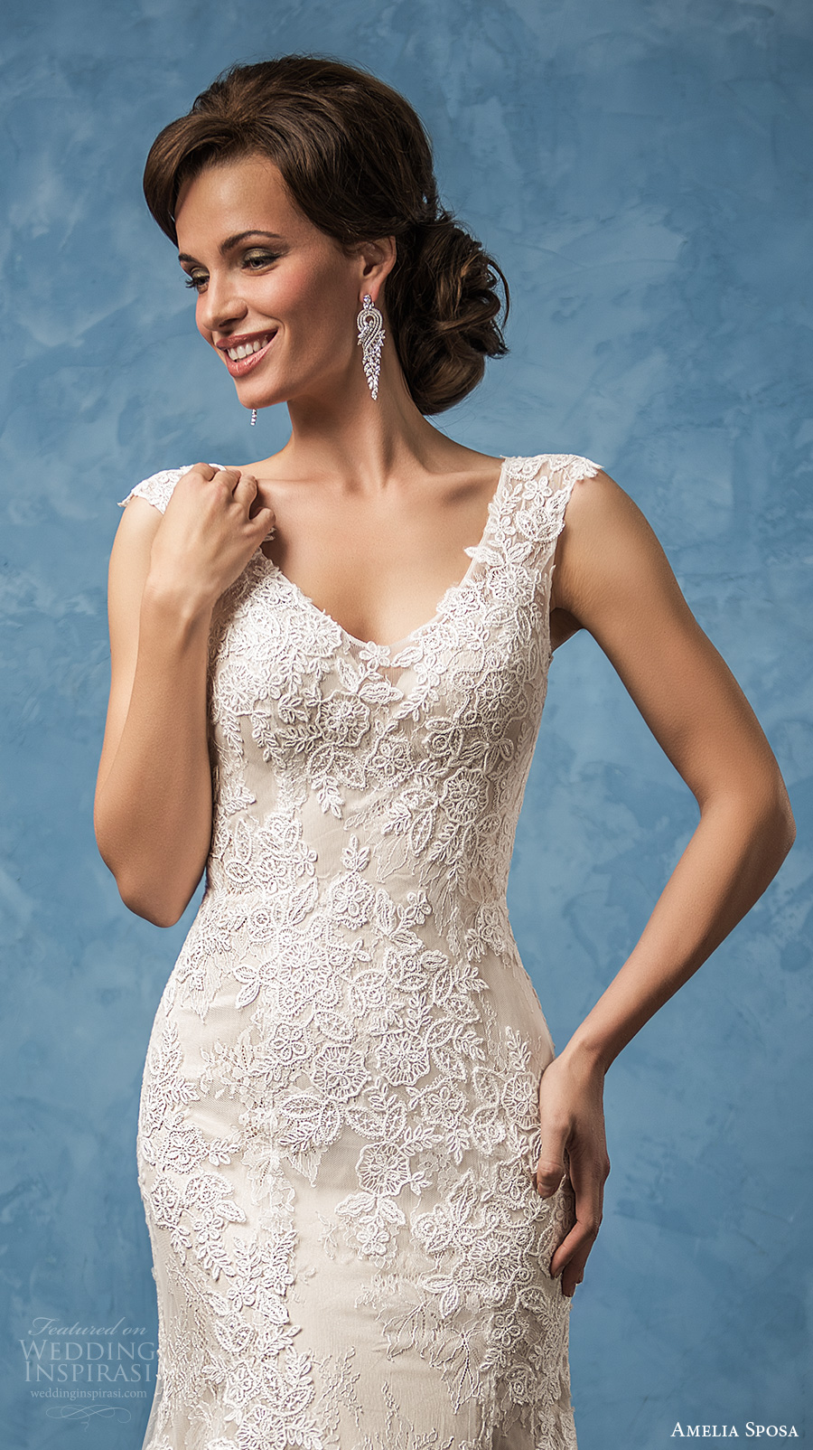 amelia sposa 2017 bridal cap sleeves scoop neckline full embellishment elegant trumpet mermaid wedding dress illusion back chapel train (adriana) zv