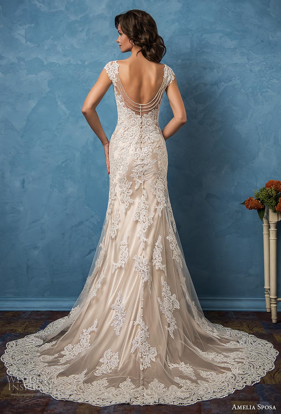 amelia sposa 2017 bridal cap sleeves v neck  full embellishment elegant trumpet sheath wedding dress chapel train (paola) bv