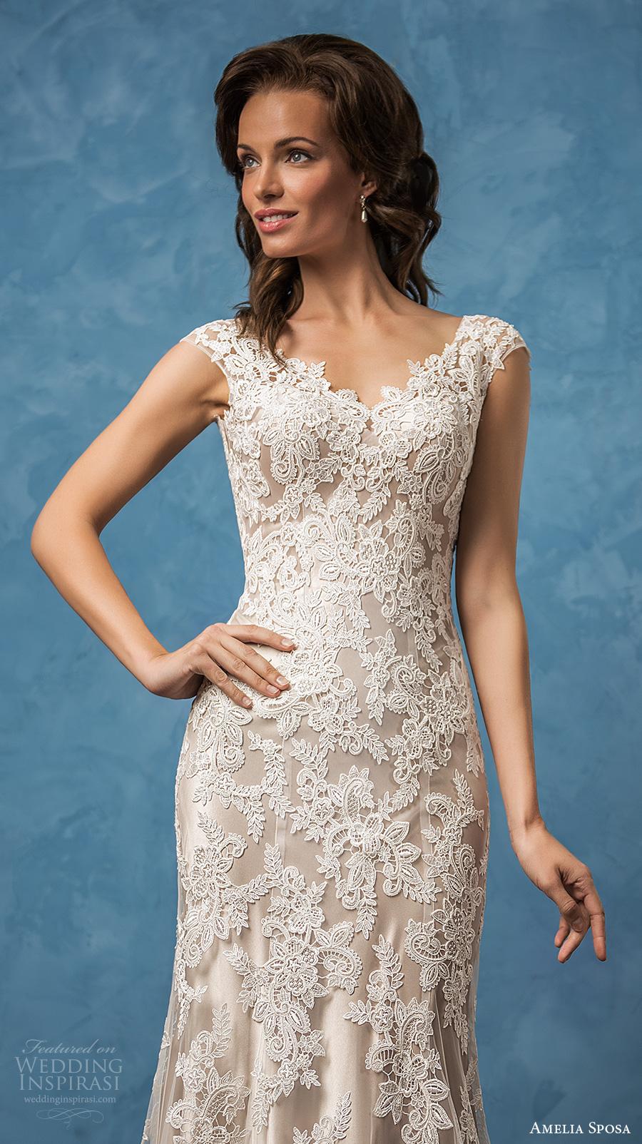 amelia sposa 2017 bridal cap sleeves v neck  full embellishment elegant trumpet sheath wedding dress chapel train (paola) zv