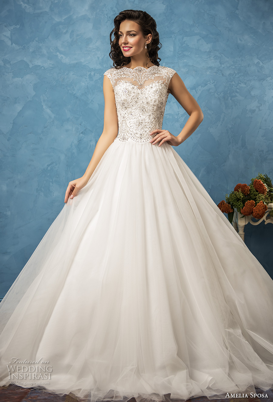 amelia sposa 2017 bridal cap sleevwes bateau neckline heavily embellished bodice romantic princess ball gown a  line wedding dress lace back royal train (sofia) mv